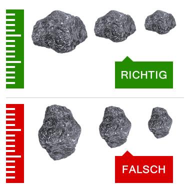 Steine richtig messen