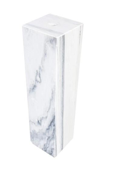 Marmorsäule, gebohrt, weiß-grau