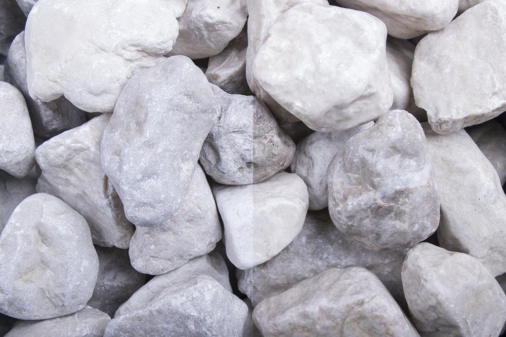 Schneeweiss Schotter • 40-80 mm Körnung • Steinschlag • Natursteine • Dolomit